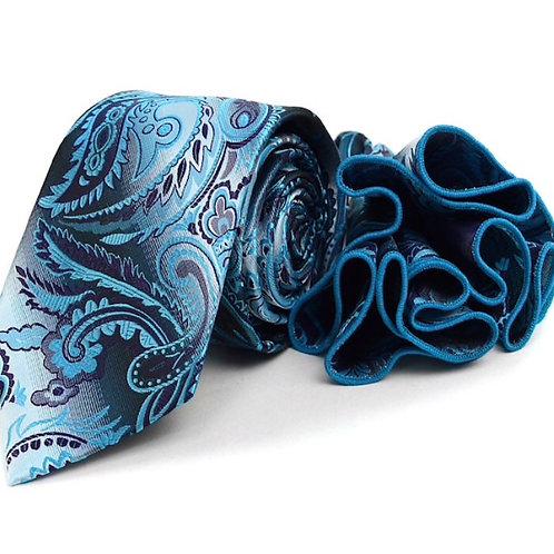Blue Paisley Tie & Matching Pocket Round Set