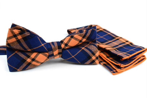 Orange Blue Plaid Cotton Bow Tie & Matching Pocket Square