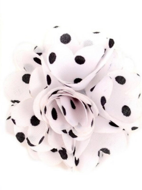 Black and White Polka Dot Flower Boutonniere Clutch Back Lapel Pins