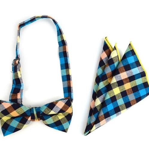 Multi Color Plaid Cotton Bow Tie & Matching Pocket Square