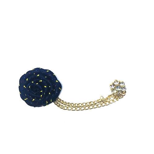 Navy Blu Boutonnière Clutch Back Lapel Pin w/Chain