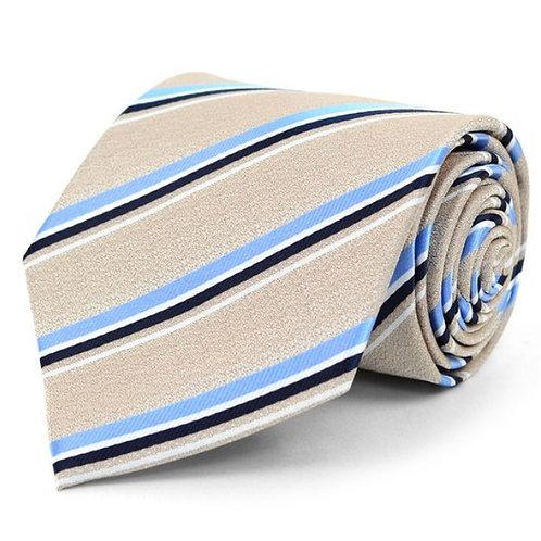Tan Striped Microfiber Poly Woven Tie