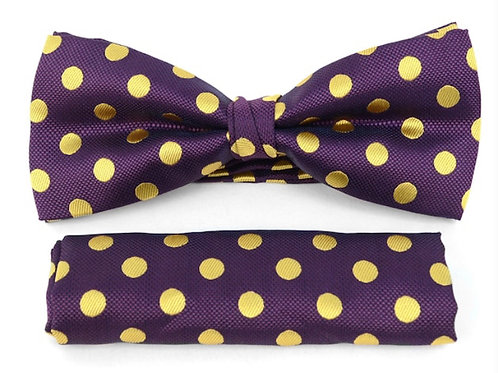 Purple Men's Big & Tall Banded Polka Dots Bow Tie and Matching Hanky Set