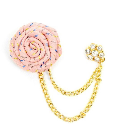 Pink Flower Boutonniere Clutch Back Lapel Pins with Chain