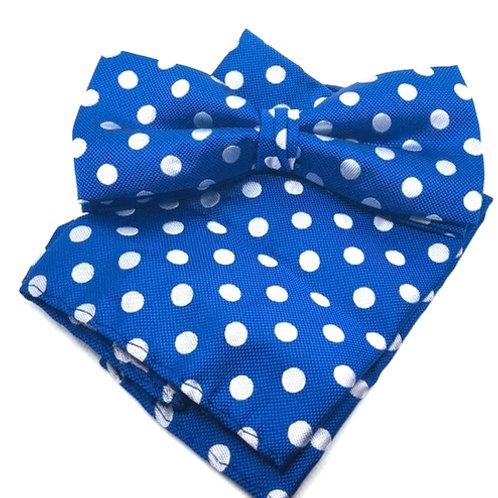 Royal Blue Men's Big & Tall Banded Polka Dots Bow Tie and Matching Hanky Set