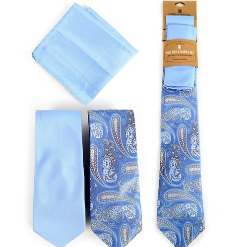 Paisley & Solid Blue Microfiber Poly Woven Two Ties & Hanky Set