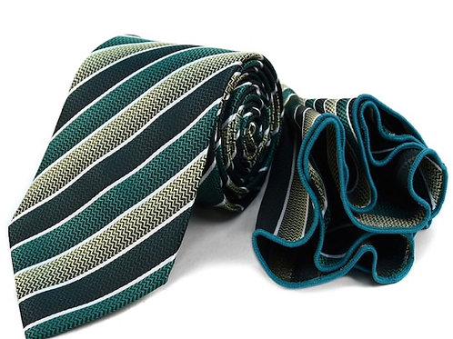 Green Striped Tie & Matching Pocket Round Set