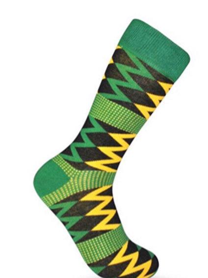 Green Multi-Color Kente Cloth Sock