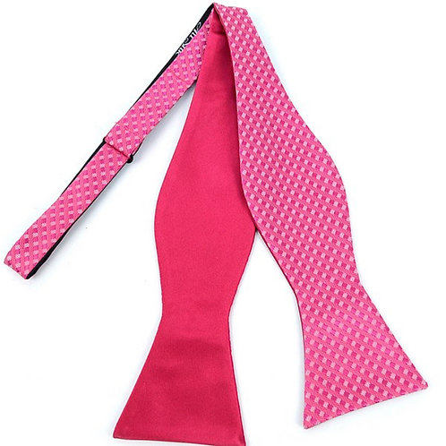 Fuchsia Silk Woven Freestyle and Reversible Bow Tie