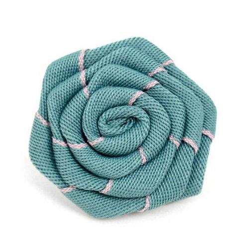 Men's Green Fabric Flower Boutonniere Clutch Back Lapel Pins