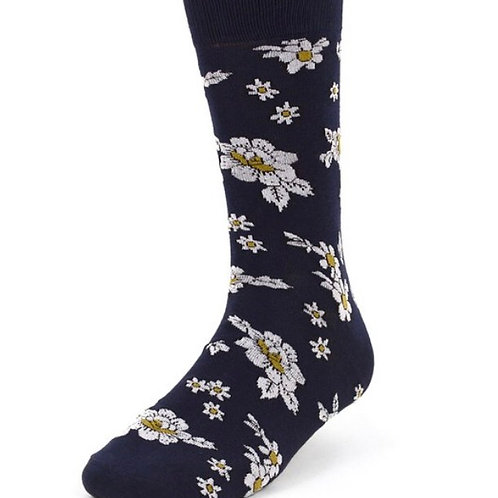 Navy Floral Novelty Crew Socks