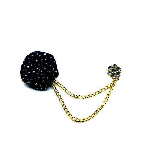 Black Flower Boutonniere Clutch Back Lapel Pins with Chain