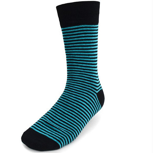Men's Green Striped Casual Fancy Socks
