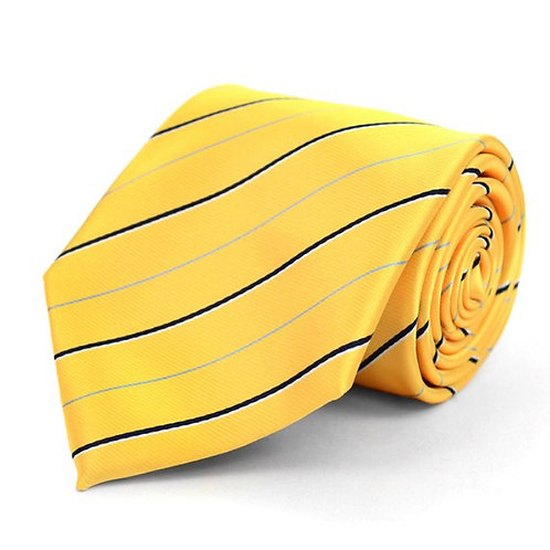 Yellow Striped Microfiber Poly Woven Tie