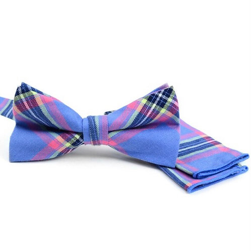 Men's Blue Plaid Cotton Bow Tie & Matching Pocket Square