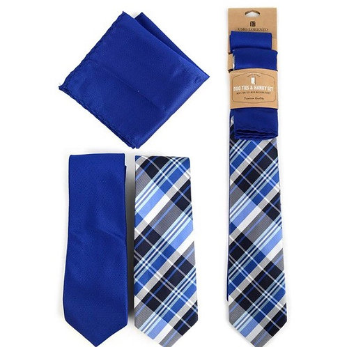 Plaid & Solid Royal Blue Microfiber Poly Woven Two Ties & Hanky Set