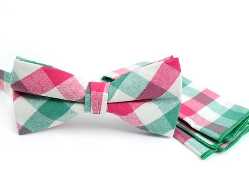 Men's Pink Green Plaid Cotton Bow Tie & Matching Pocket Square
