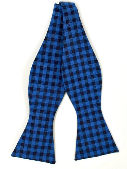 Dark Blue and Plaid Silk Woven Freestyle and Reversible Bow Tie