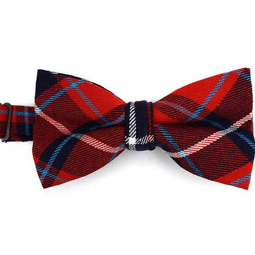 Men's Plaid Flannel Cotton Banded Bow Tie