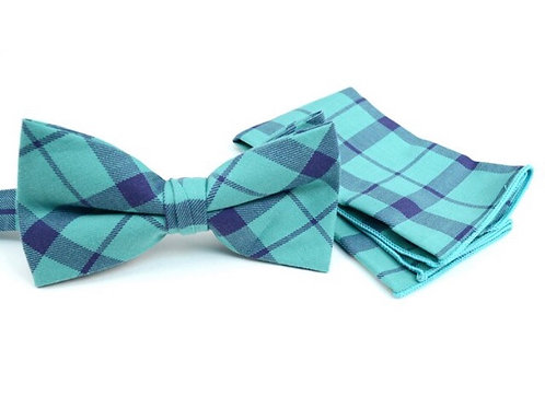 Men's Turquoise Plaid Cotton Bow Tie & Matching Pocket Square