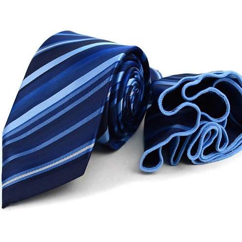 Blue Striped Poly Woven Necktie & Pocket Square Set