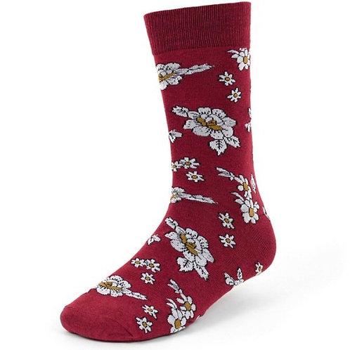 Burgundy Floral Novelty Crew Socks