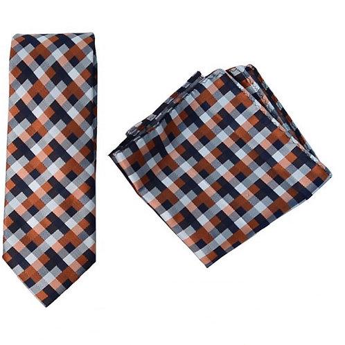 Orange Geometric Microfiber Poly Woven Tie & Hanky Set