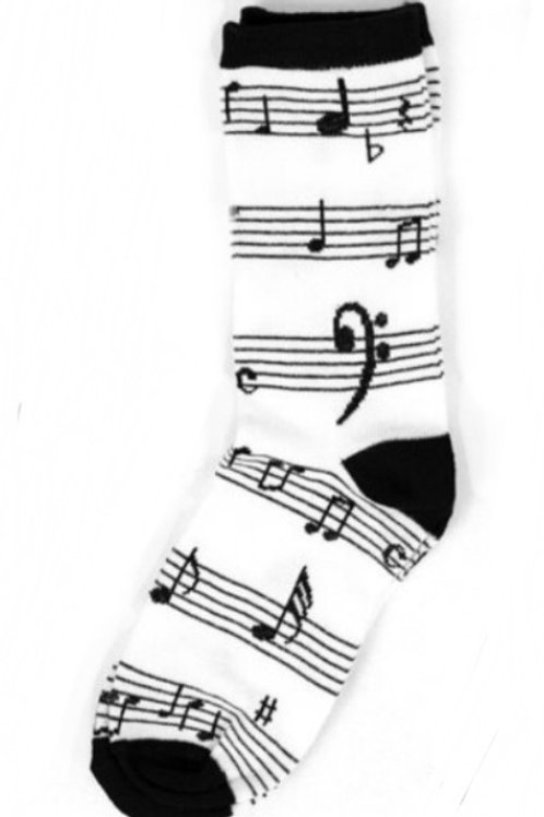 Music Notes Socks - White & Black