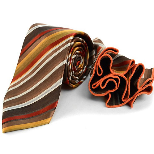 Brown Striped Tie & Matching Pocket Round Set