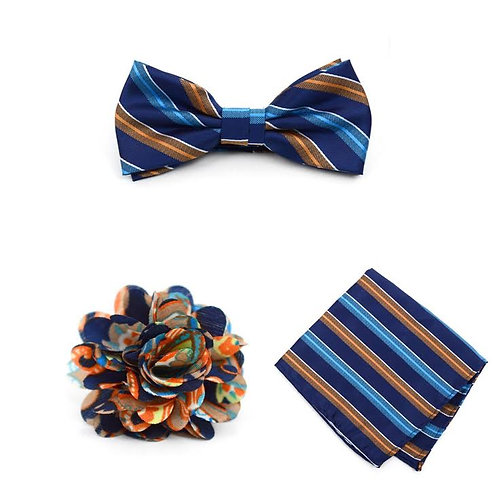 Striped Banded Bow Tie, Matching Hanky & Multi Color Lapel Pin Set