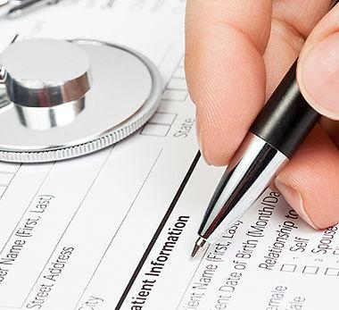 Formulaire médical avec un stéthoscope