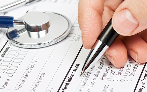 Medical form with stethoscope