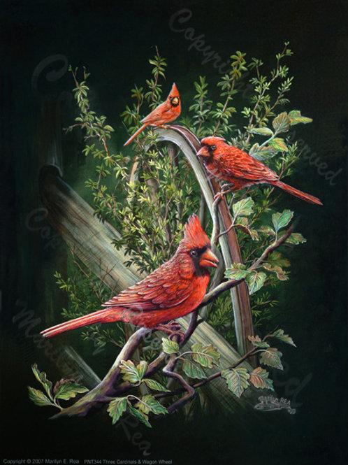 PRTGLP344-Three Cardinals and Wagon Wheel