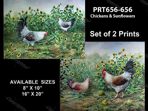 PRTOE656-655  Chickens & Sunflowers