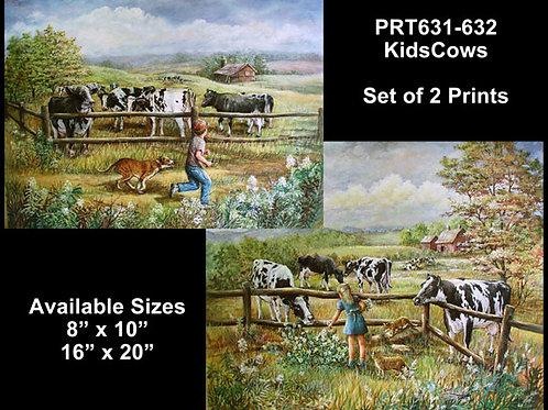 PRTOE631-632  Kids & Black and White Cows