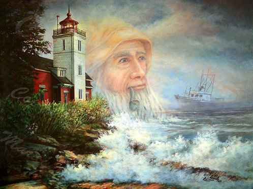 PRTGLP286-Old Man and The Ses - Michigan Lighthouse