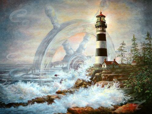 PRTGLP288- Ships Wheel - Banded Lighthouse