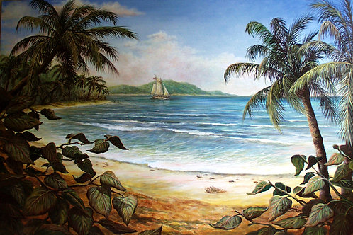 PRTOE699-Palms & Sailboat
