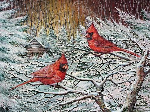 PRTGLP381-Redbirds in Winter