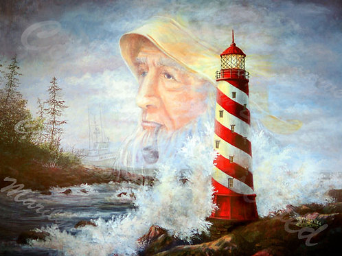 PRTGLP287-Old Man & Sea - Spiral Lighthouse