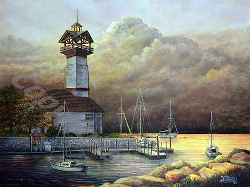 PRTGLP496-Erie Lighthouse & Marina & Gulls