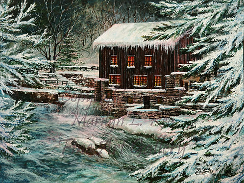 PRTGLP373-Winter Waters At The Mill