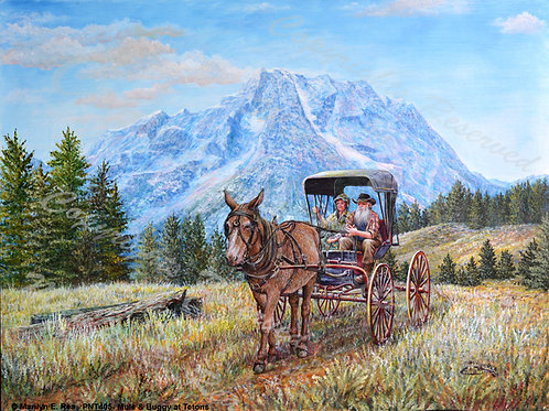 PRTGLP405-Mule and Buggy at Tetons