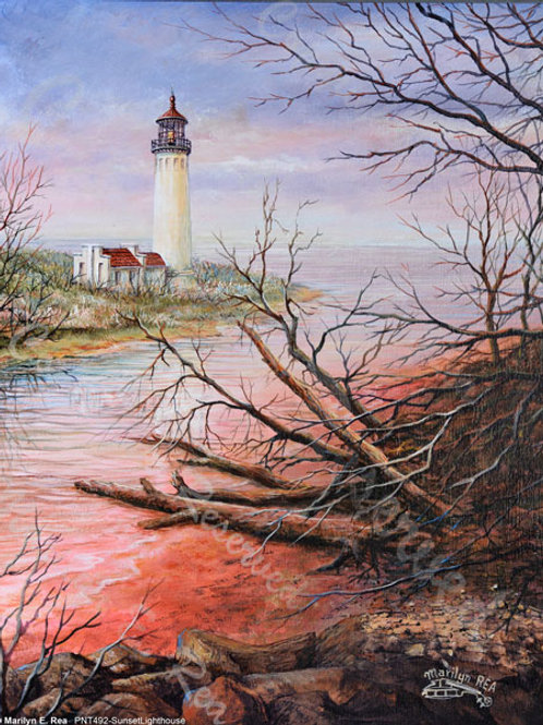 PRTGLP492-Sunset Lighthouse