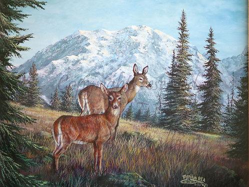 PRTGLP142-Two Deer At Rainer