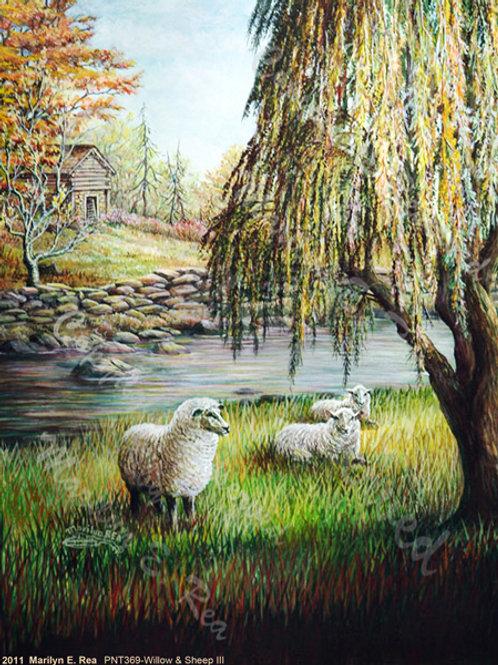 PRTGLP368-Willows & Sheep by stream