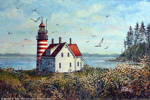 PRTGLP485-Maine Striped Lighthouse