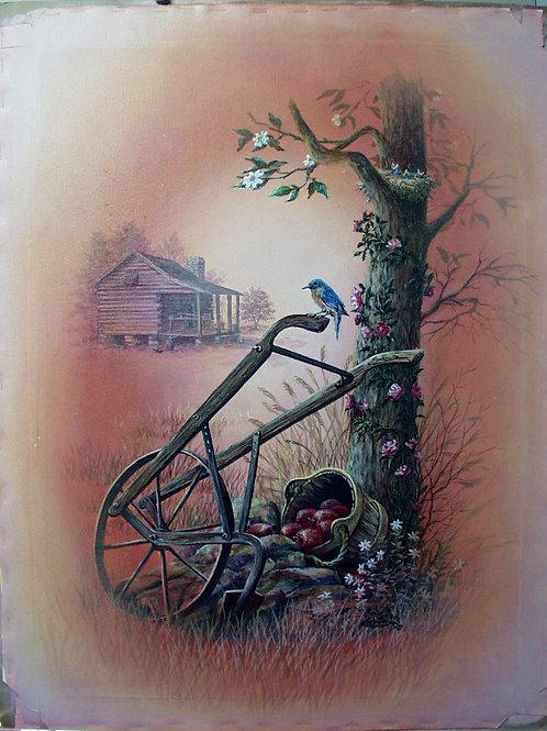 PRTOE630-Bluebirds and Apple Basket