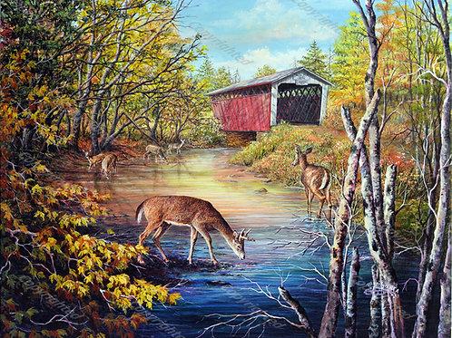 PRTGLP775-Six Deer & Covered Bridge