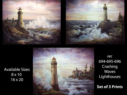 PRTOE694-695-696 Crashing Waves Lighthouses